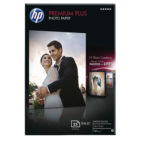 HP White 10x15cm Premium Plus Glossy Photo Paper (25 Pack) CR677A