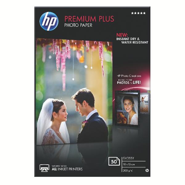 HP White 10x15cm Premium Plus Glossy Photo Paper (50 Pack) CR695A