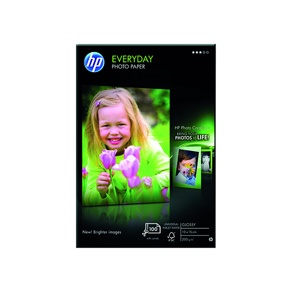 Photo Size HP White 10x15cm Everyday Glossy Photo Paper (100 Pack) CR757A