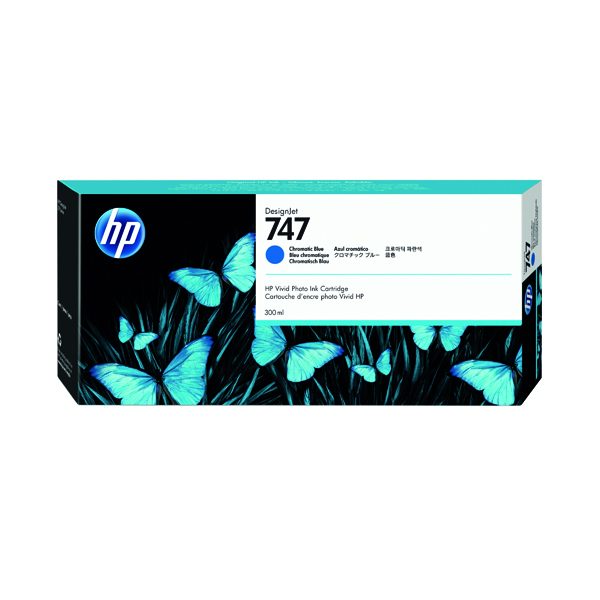 Inkjet Cartridges HP P2V85A 747 Chromatic Blue Ink 300ml