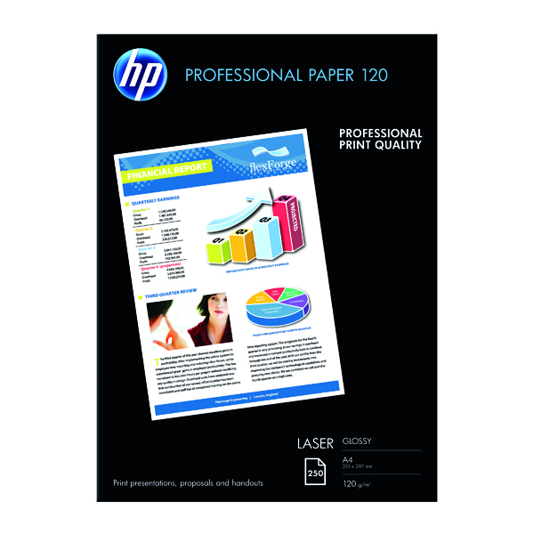 White 120gsm to 160gsm HP White A4 Professional Glossy Laser Paper 120gsm (250 Pack) CG964A