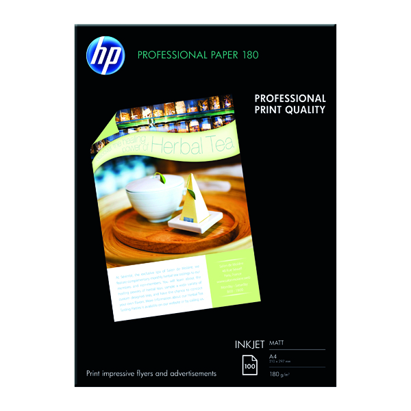 White HP White A4 Professional Matte Inkjet Paper (100 Pack) Q6592A