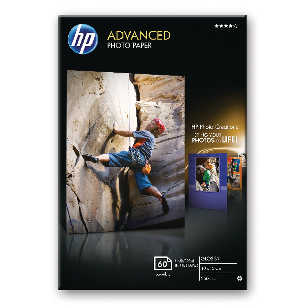 HP White 10x15cm Advanced Glossy Photo Paper 250gsm (60 Pack) Q8008A