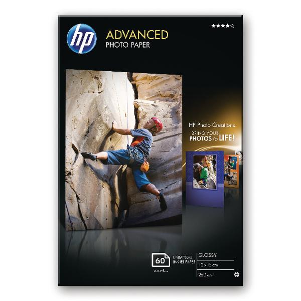 HP White 10x15cm Advanced Glossy Photo Paper 250gsm (60 Pack) Q8008A