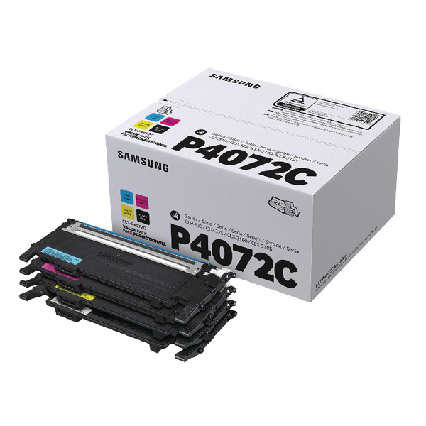 MultiColour Samsung CLT-P4072C CYMK Toner Cartridges (4 Pack) SU382A