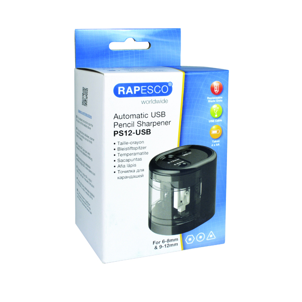 Single Rapesco USB Electric Pencil Sharpener Black 1449