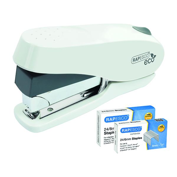 Desktop Staplers Rapesco ECO Luna Less Effort Stapler White 1467
