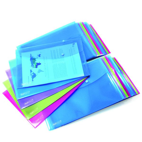 Foolscap Rapesco Foolscap Popper Wallet Bright (20 Pack) 1494