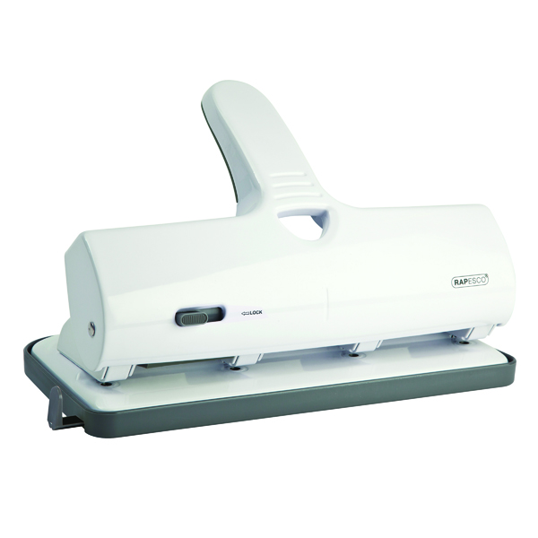 Rapesco ALU 40 Heavy Duty 4 Hole Punch Chrome and White
