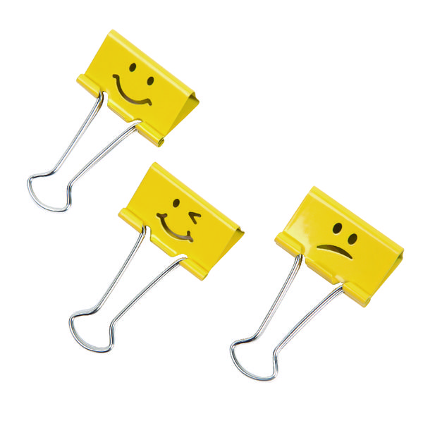 Rapesco Emoji Foldback Clip 32mm Yellow (20 Pack) 1354