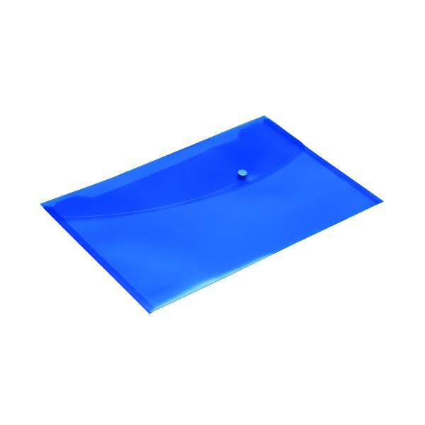 Foolscap Rapesco Popper Wallet Foolscap Blue (5 Pack) 0693