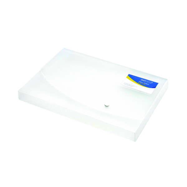 A4 Size Rapesco Rigid Wallet Box File 25mm A4 Clear 0708