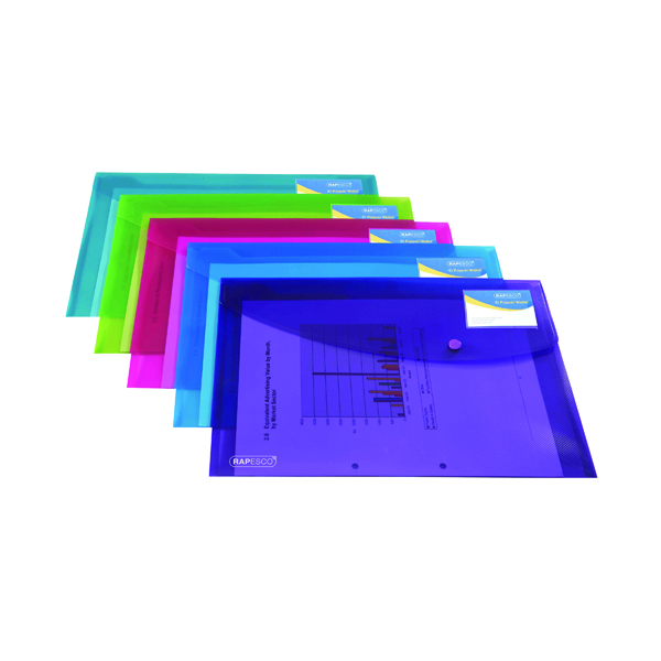 A4 Rapesco ID Popper Wallet Translucent Assorted (5 Pack) 0700