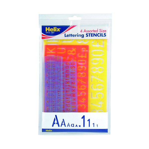 Helix Lettering Stencil Set of 4 Assorted Sizes (5 Pack) H40891