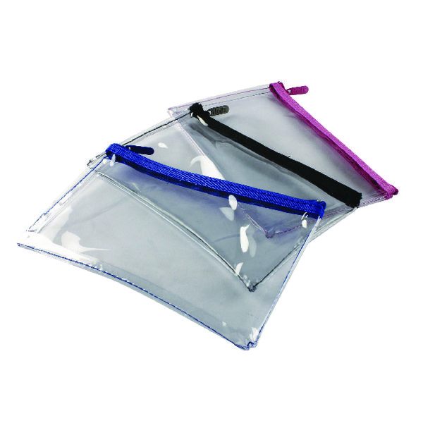 Helix Clear Pencil Case 200x125mm Assorted (12 Pack) M77040