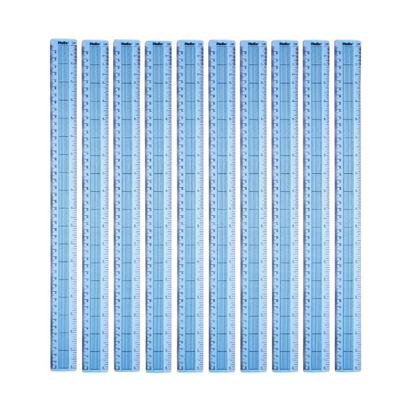 Helix Shatter Resistant Ruler Gridded 45cm Blue (10 Pack) L28040