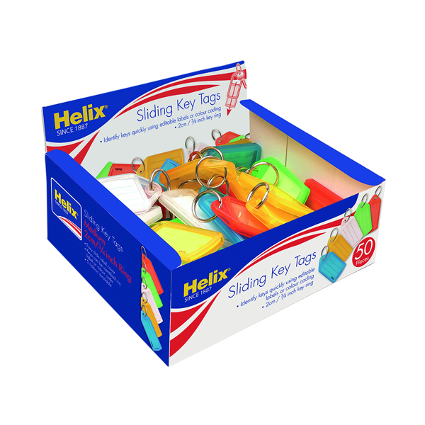 Helix Assorted Medium Sliding Key Fobs (50 Pack) F34020