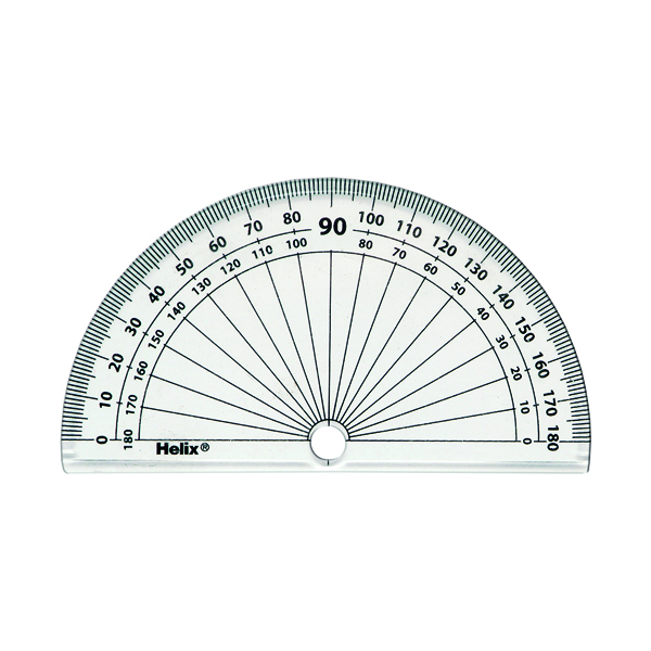 Helix 10cm 180 Degree Protractor Clear (50 Pack) H02040