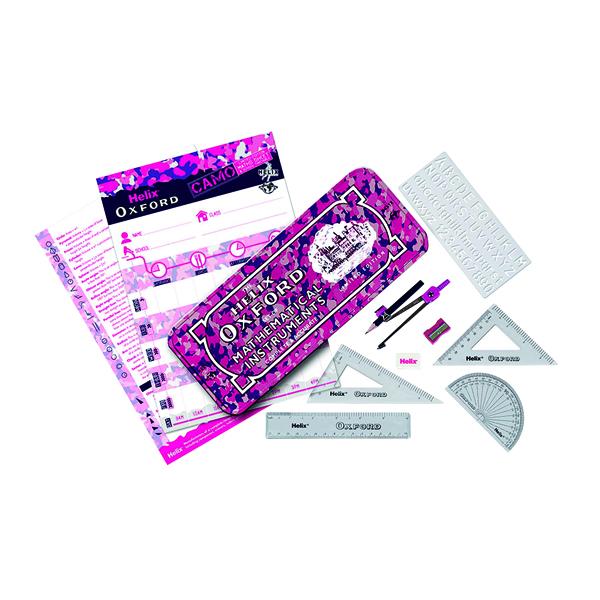 Oxf Camo Maths Set Pink CDU (10 Pack) 170509