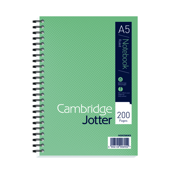 A4 Cambridge Ruled Margin Wirebound Jotter Notebook 200 Pages A5 (3 Pack) 400039063