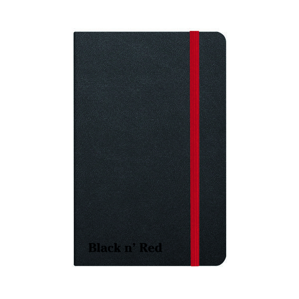 Ruled Black n' Red Casebound Hardback Notebook A6 Black 400033672