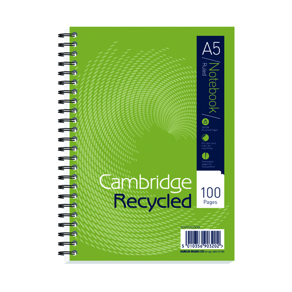 A5 Cambridge Ruled Recycled Wirebound Notebook 100 Pages A5 (5 Pack) 400020509