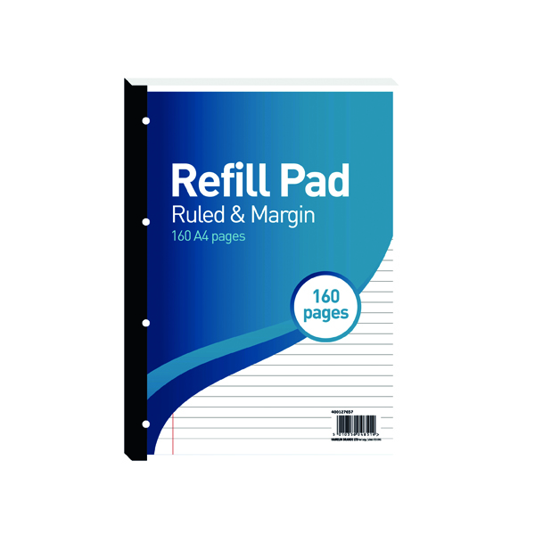 Ruled Hamelin 8mm Ruled/Margin Refill Pad A4 80 Sheet (5 Pack) 400127657
