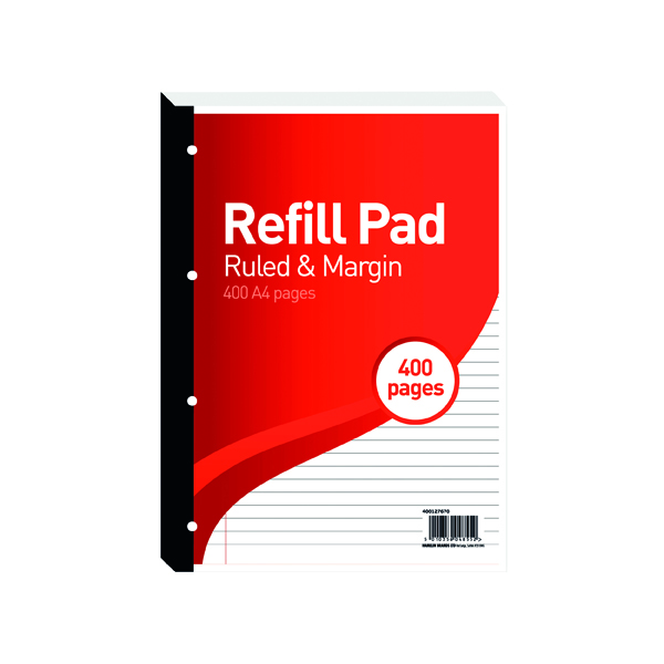 Ruled Hamelin 8mm Ruled/Margin Refill Pad A4 200 Sheet (5 Pack) 400127670
