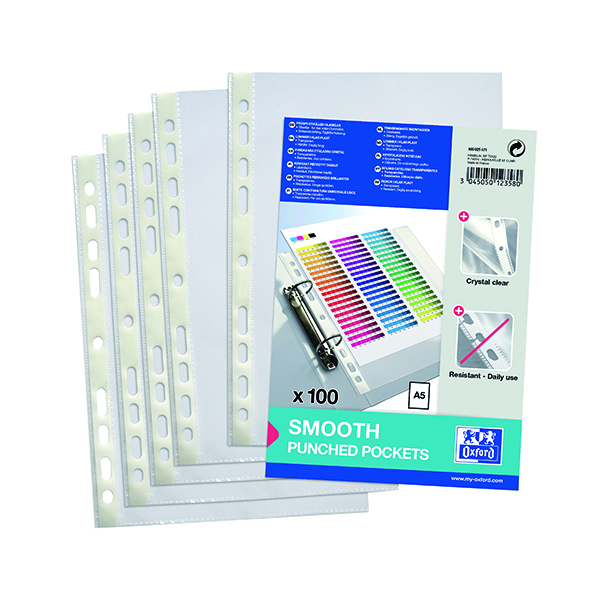 A5 Oxford Punched Pocket 60 micron A5 Clear (100 Pack) 400025671