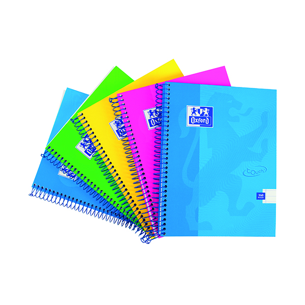 A4 Oxford Touch Wirebound Hardback Notebook A4 Assorted (5 Pack) 400109986