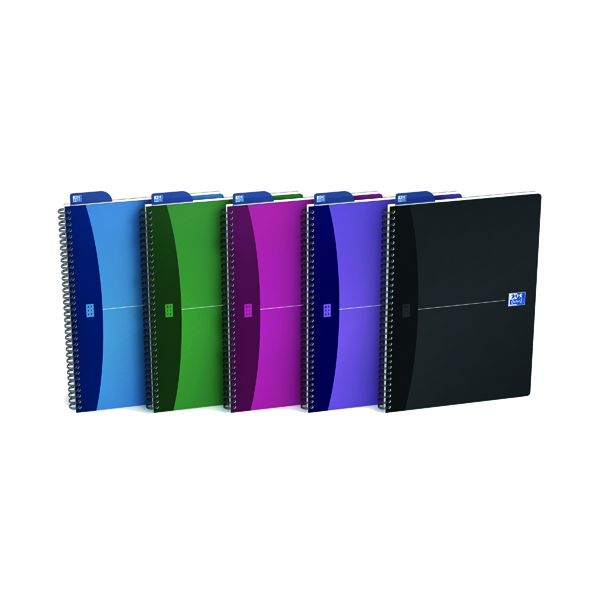 A4 Oxford Poly Opaque Wirebound Notebook A4 Assorted (5 Pack) 100101918