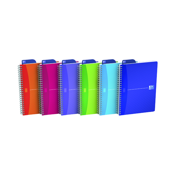 A5 Oxford Poly Translucent Wirebound Notebook A5 Assorted (5 Pack) 100104780