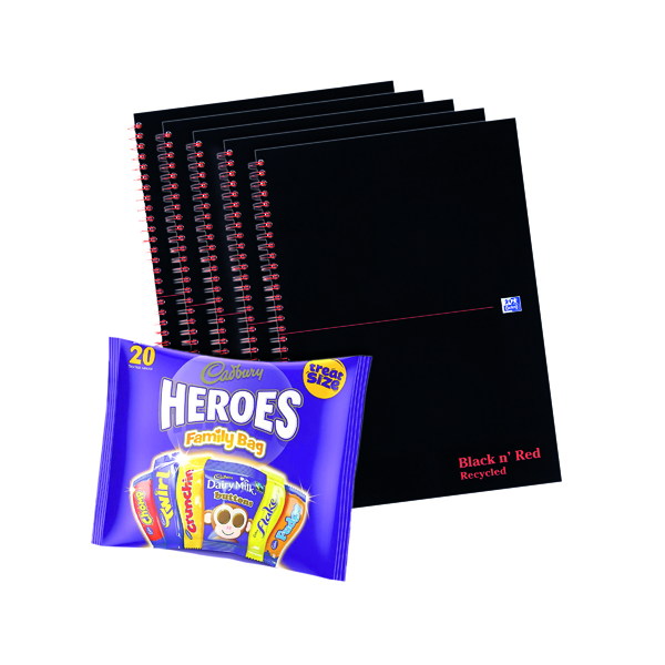 Recycled BUY BnR A4 WB Glosy 5 Pack Ruled Recycled Plus FOC Heroes Family Bag