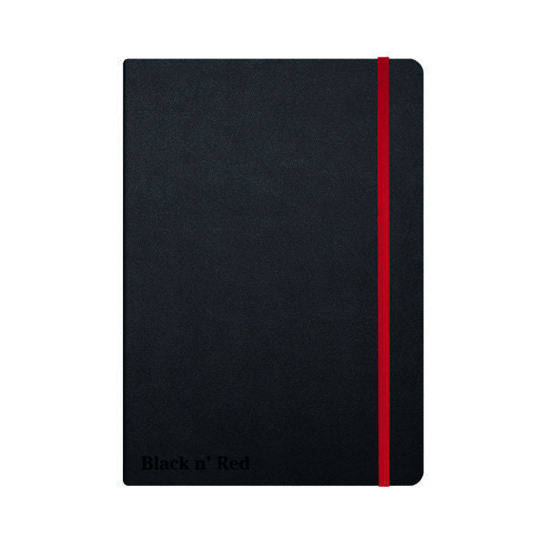 A5 Black n' Red Casebound Hardback Notebook A5 Black 400033673