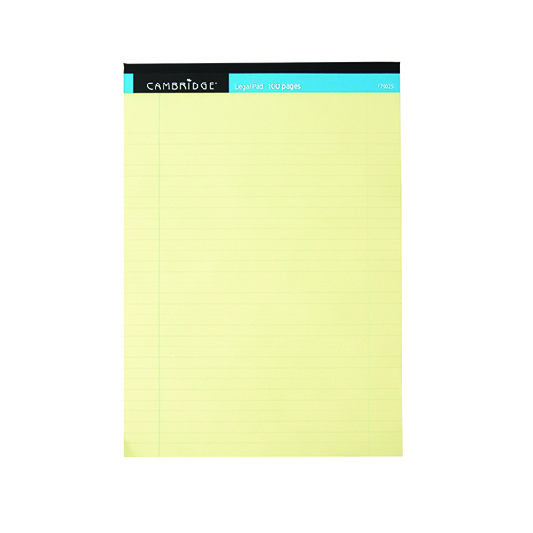Cambridge Legal Memo Pad A4 100 Pages Ruled with Margin Yellow 100080179 Pack of 10