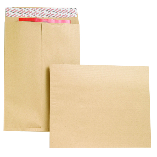 Gusset Plain & Window New Guardian Envelope Gusset Peel and Seal 406x305x25mm 130gsm Manilla (100 Pack) B27326