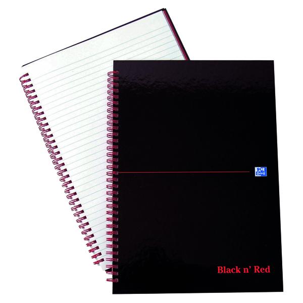 Ruled Black n' Red Ruled Wirebound Hardback Notebook A4 (7 Pack) 846350115