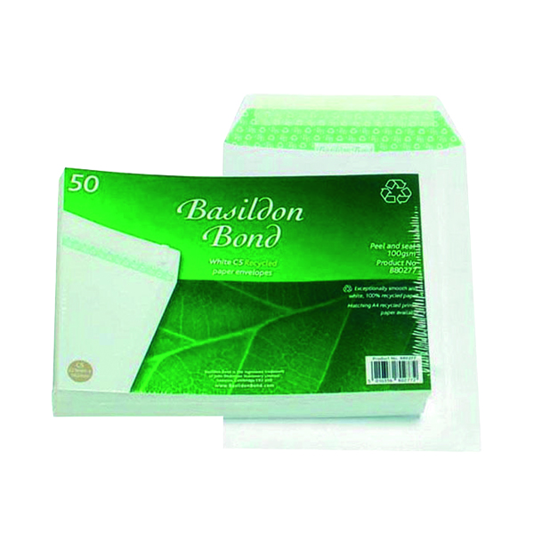 White Plain Basildon Bond C5 Envelopes Pocket Peel and Seal 120gsm White (50 Pack) B80277