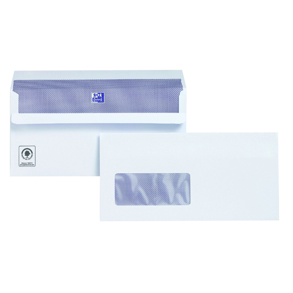 White Window Plus Fabric DL Envelopes Window Wallet Self Seal 120gsm White (500 Pack) C22570