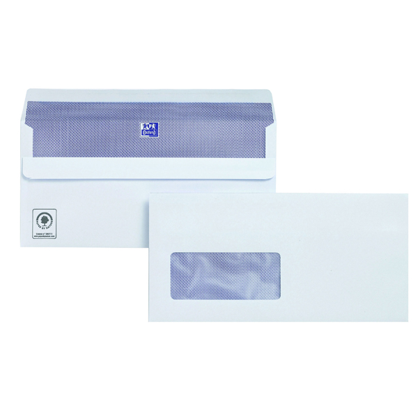 White Window Plus Fabric DL Envelopes Window Wallet Self Seal 120gsm White (250 Pack) C23370