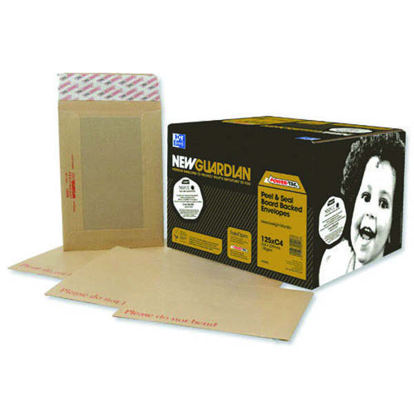 Board Back New Guardian Envelope 444x368mm Board Back Peel and Seal 130gsm Manilla (50 Pack) C27726