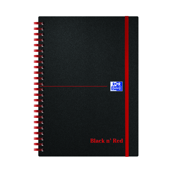 A5 Black n' Red Ruled Polypropylene Wirebound Notebook 140 Pages A5 (5 Pack) 846350109