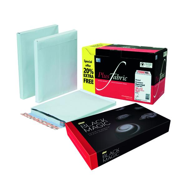 Plus Fabric Gusset C4 Envelopes Peel and Seal 120gsm White (100 Pack) FOC Chocolates