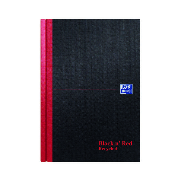 Recycled Black n' Red Ruled Recycled Casebound Hardback Notebook 192 Pages A5 (5 Pack) 100080430