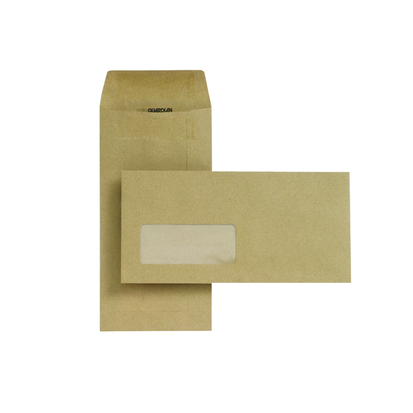 Manila Window New Guardian DL Envelopes Window Pocket Self Seal 80gsm Manilla (1000 Pack) D25311
