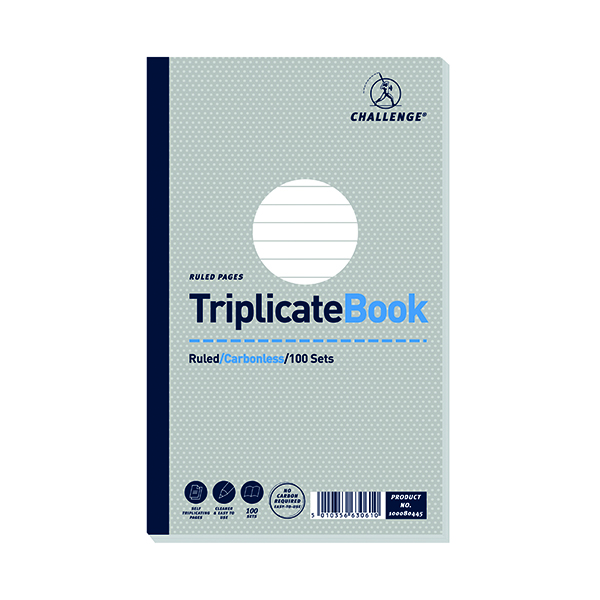 Challenge Carbonless Triplicate Book 100 Sets 210x130mm (5 Pack) 100080445