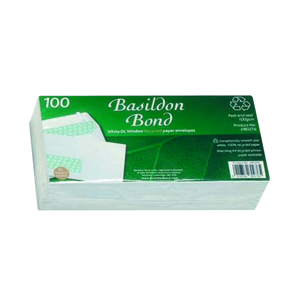 White Window Basildon Bond DL Envelopes Window Wallet Peel and Seal 120gsm White (100 Pack) D80276