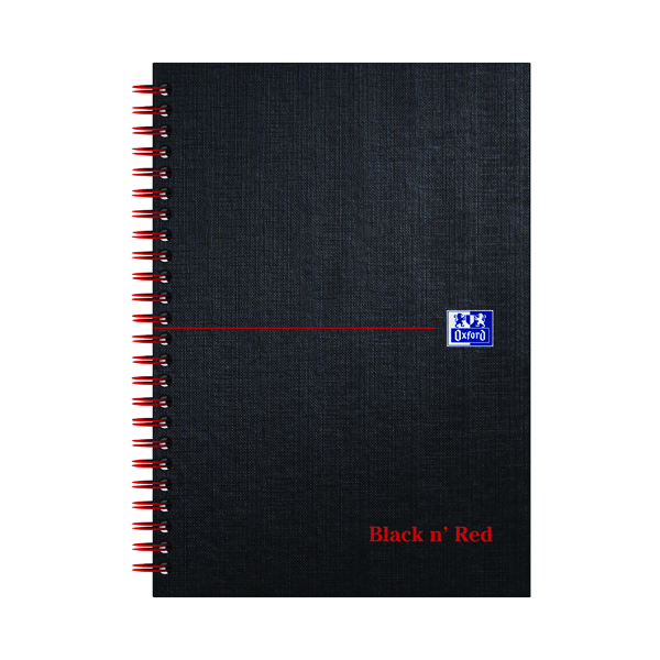 A5 Black n' Red Ruled Wirebound Hardback Notebook 140 Pages A5 (5 Pack) 846354906