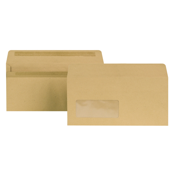 New Guardian DL Envelopes Window Wallet Self Seal 80gsm Manilla (1000 Pack) E22211