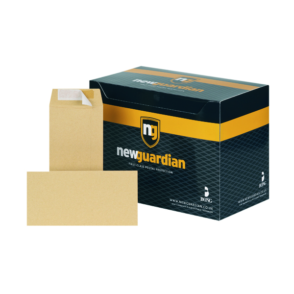 Manila Plain New Guardian DL Envelopes Pocket Peel and Seal Heavyweight 130gsm Manilla (500 Pack) E26503